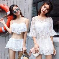 Women's Sexy White Lace 3 Piece Bikini Swimwear Sexy Swim Suit Skirt Separate Womens Plus High Waist Bikinis