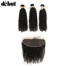 デビューカーリー人間の インチバンドルとリーフルレースフロンタルブラジル髪織りバンドル変態カール髪のバンドル女性 28