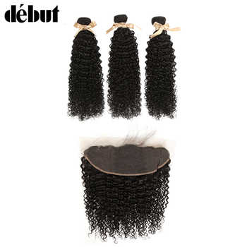 Debut Curly Human Hair With Closure 28 Inch Bundles With Frontal Brazilian Hair Weave Bundles  Kinky  Curl Hair Bundles For lady - DISCOUNT ITEM  39% OFF All Category