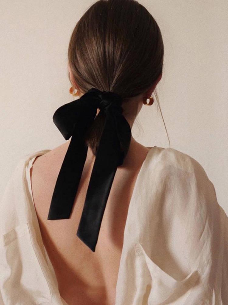 Lystrfac Vintage Black Velvet Bow Hair Ribbon Scrunchie for Women Girls Long Elastic