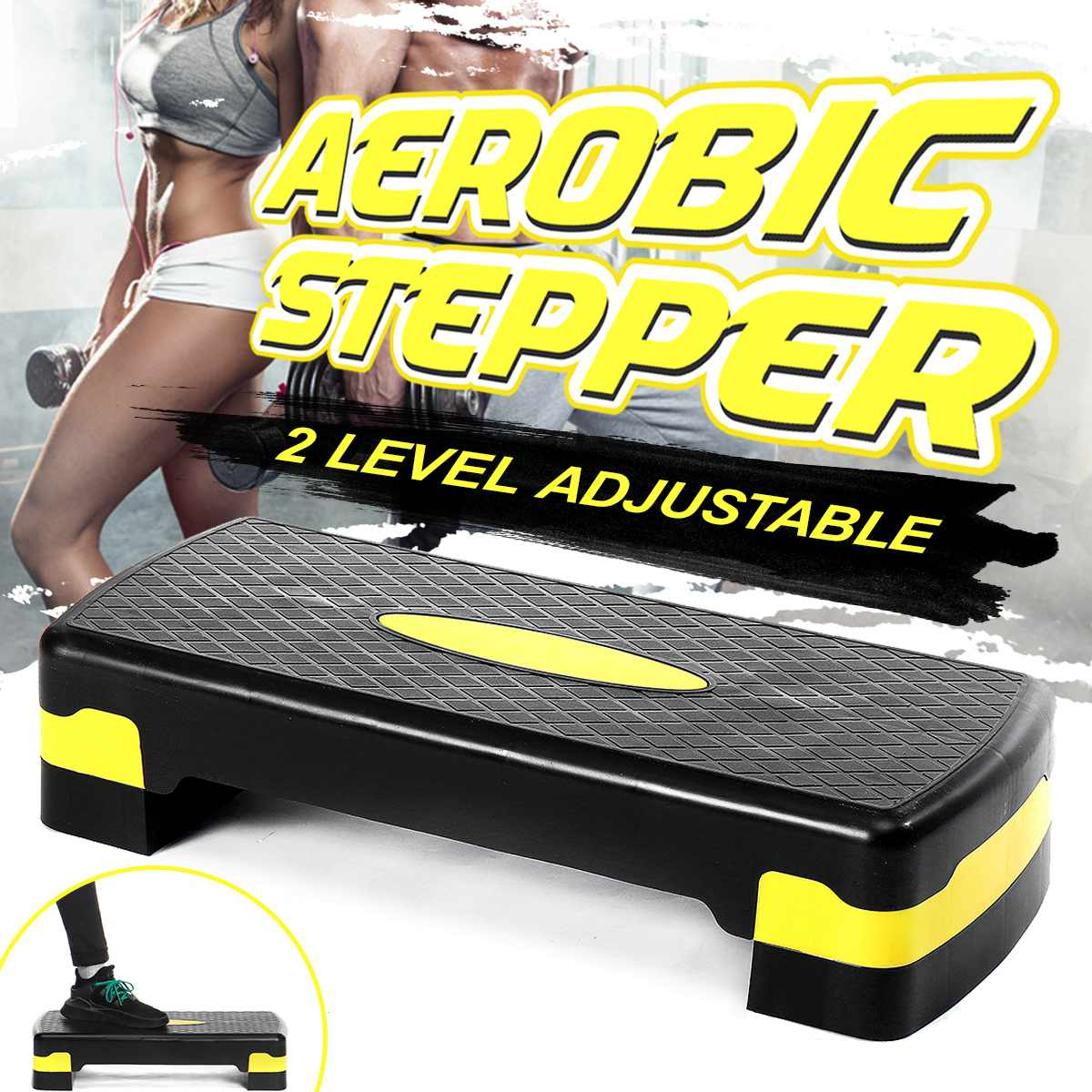 100KG Fitness Aerobic Step Adjustable Non-slip Cardio Yoga Pedal Stepper Gym Workout Exercise Fitness Aerobic Step Equipment