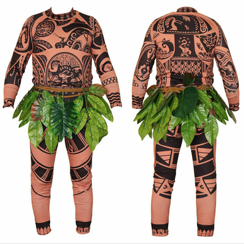 HOT SALE Halloween Adult Mens Moana Maui Tattoo Long Sleeve T Shirt Pants Grass Skirt Cosplay Costume