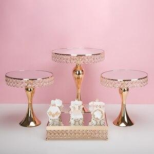Подставка для торта с золотым кристаллом для свадьбы, дня рождения, десерта, пьедестала для кекса