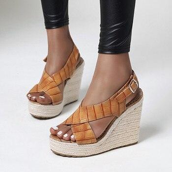 Fanyuan sandals size 34-43 women sandals sexy wedges platform buckle ladies shoes solid color summer dress shoes black brown