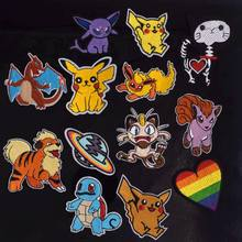 Hot Koop Cartoon Patches Pocket Pikachu Movie Schedel Kat Patch Ijzer Op Patches Voor Kleding Kind kleding Diy Strijken Stickers(China)