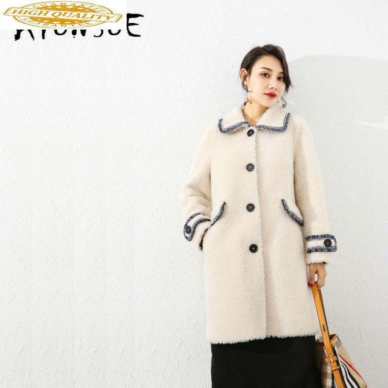 Autumn Winter Coat Women Clothes 2019 Sheep Shearing Real Fur Coat 100% Wool Jacket Women Korean Fashion Fur Tops 19070 YY2093