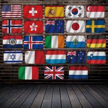 [ DecorMan ] UK Japan Korea Italy Germany Singapore Flag Metal Plaque Sign Custom wholesale Mural Paintings Bar  Decor LT-1892
