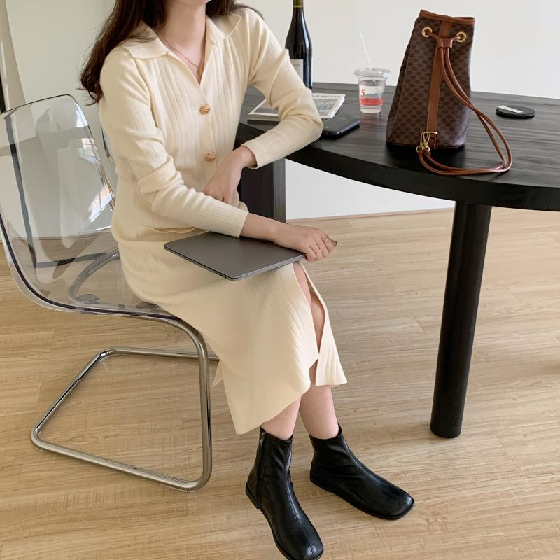 H817c57f87ce44d76aedc1cb587af7433H - Autumn Turn-Down Collar Soft Slim Solid Long Sweater Dress