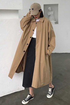 Loose Oversize Black Chic Trench Coat Khaki Single-breasted Streetwear Casual Womens Female Long Sleeve Pocket Windbreaker