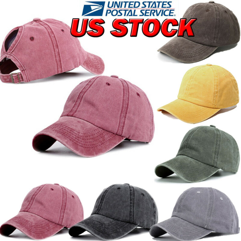 Fashion Solid Style Women Denim Baseball Cap With Ponytail Girl Adjustable Sunshade Washable Hat Hiking Cap Gary Green Red