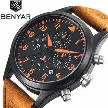 купить BENYAR Brand Casual Men's Watches Leather Waterproof Fashion Style Quartz Luxury Watch Men Sport Wristwatch Relogio Masculino по цене 1517.3 рублей