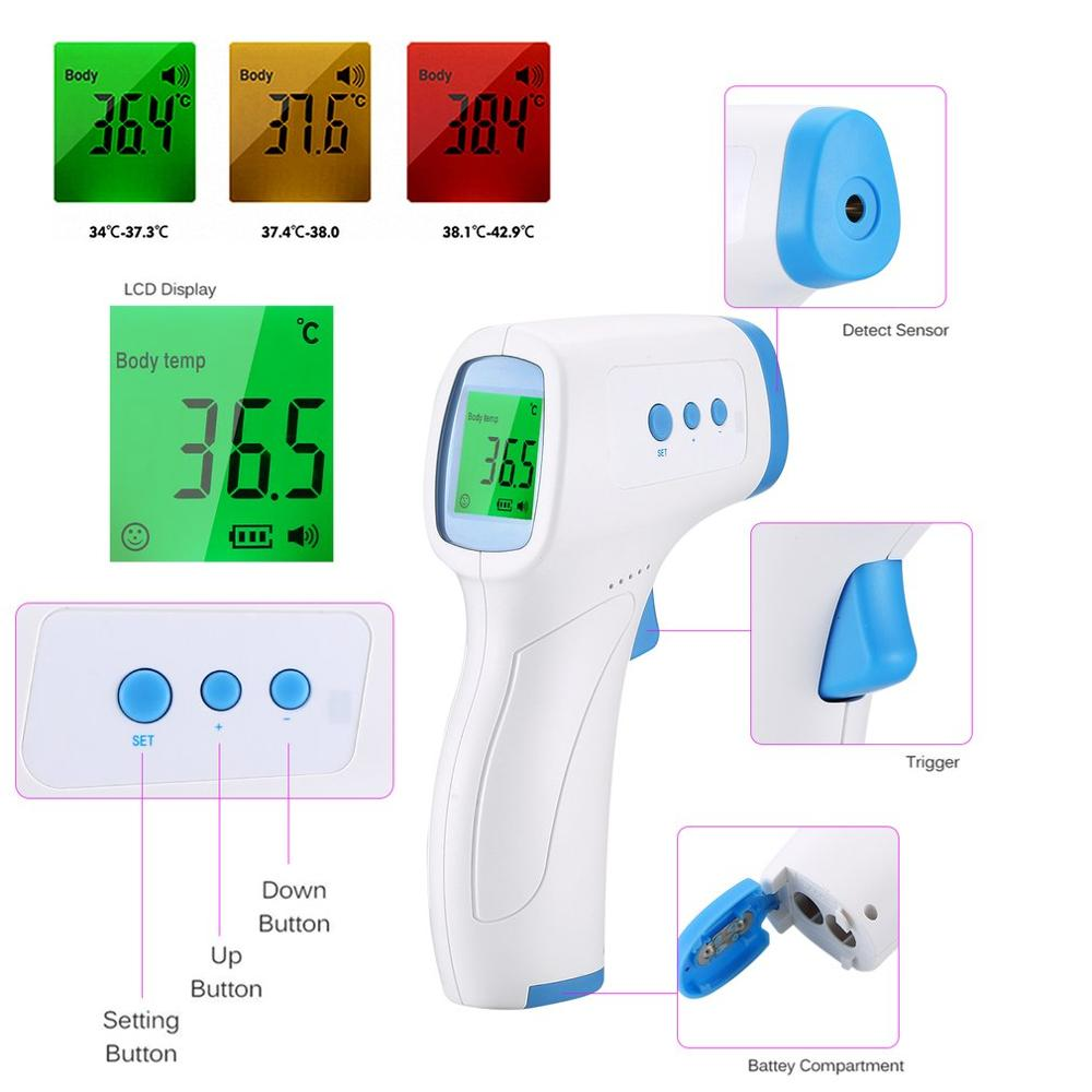Digital LCD Non-contact <font><b>IR</b></font> Infrared Thermometer Surface Temperature Measurement Data Hold Function 3 colors image