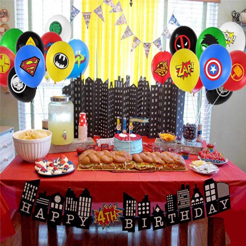 1 مجموعة خارقة موضوع الطرف مجموعة اللاتكس بالون راية الاطفال حفلة عيد بالون الطفل زينة الحمام سوبرمان بالونات Globos