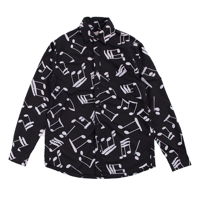 Рубашка мужская с длинным рукавом, блузка свободного покроя в горошек, с принтом музыкальных нот