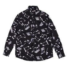 מוסיקלי הערה מודפס גברים של חולצה יפני Streetwear ארוך שרוול חולצה Loose Camisas Hombre Mens חולצות מנוקדת חולצה