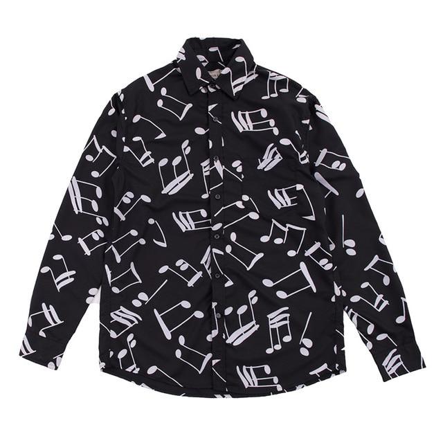 Âm Nhạc Note In Hình Áo Sơ Mi Nam Nhật Bản Dạo Phố Áo Sơ Mi Tay Dài Rời Camisas Hombre Nam Áo Sơ Mi Chấm Bi Áo