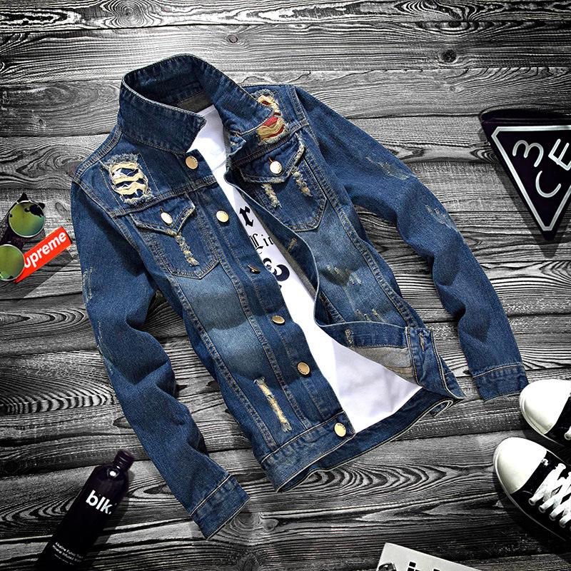 Autumn Youth Jeans Jacket Men Casual Holes Turn-down Collar Korean Slim Jacket