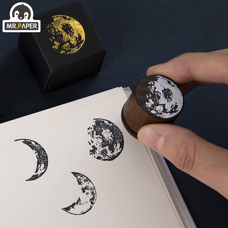 Mr.Paper 7 Designs Moon Phase Series Gold Space Hop-pocket List Log-Rubber Stamps for Scrapbooking Deco DIY Craft Wooden Stamps 4