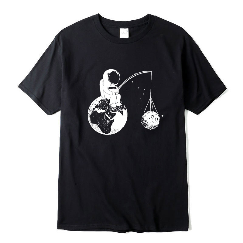 100% Cotton Casual Short Sleeve Funny Design Astronaut Printing Men T Shirt O-neck Knitted Comfortable Fabric Street Men T-shirt