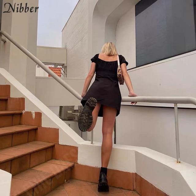 Nibber kpop puff sleeve sexy low collar slim black dresses woman elegant simple high street female fashion party club mini dress 6