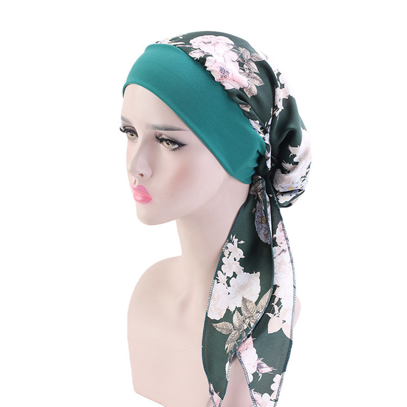 Women Printed Silky Elastic Muslim Turban Head Scarf Pre-Tied Long Tail Hijabs Cancer Hair Loss Hats Bow Bonnet Wide Band Wrap