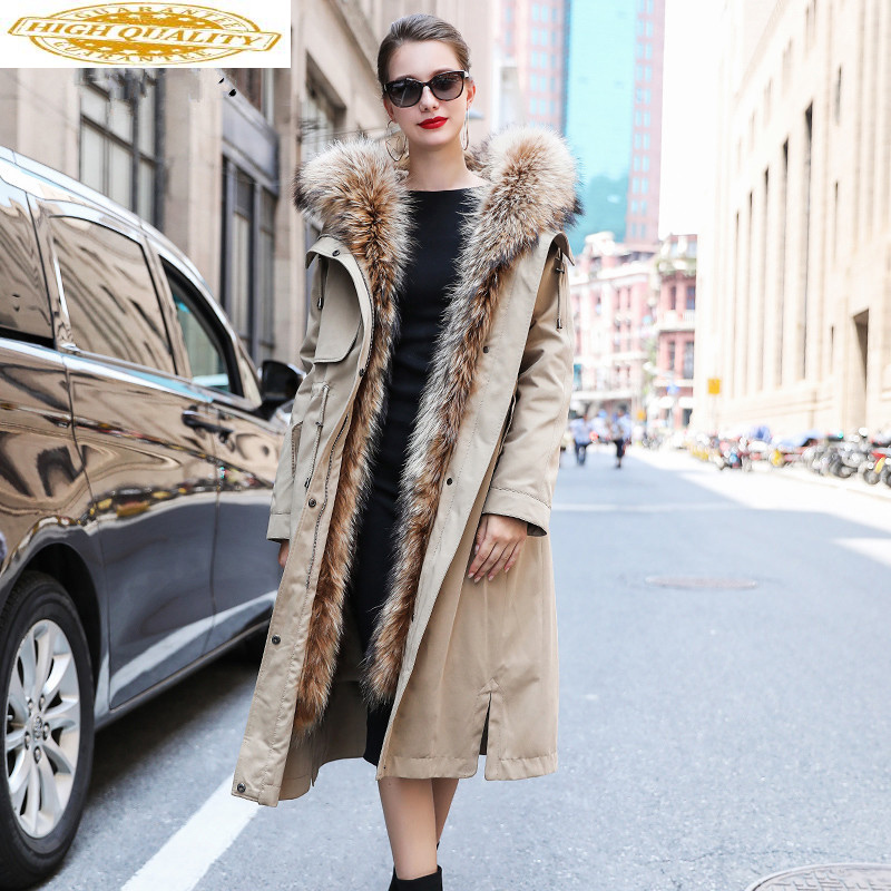 Real Fur Parka 2020 Winter Jacket Women Natural Rabbit Fur Liner Long Trench Coat Female Raccoon Fur Collar Parkas MY
