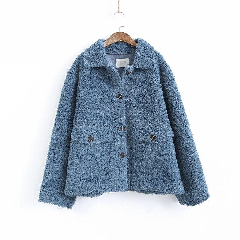 Chaquetas de lana de cordero grueso coreano ropa de mujer chaqueta de invierno Vintage de talla grande abrigo femenino chaquetas de mujer tapas Ll006 - 3