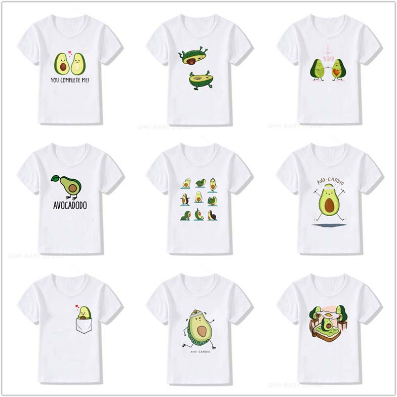 Kids Summer New Korean Cute Avocado Vegan Boys Girls Tshirt Cute Pattern Print Toddler Short Sleeve Kawaii Harajuku Tees Tops