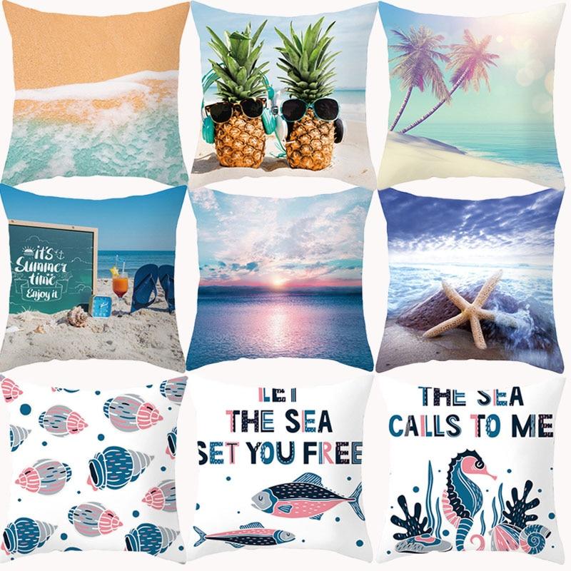 Summer Beach Ccushion Cover 45x45 Pillow Covers Decorative Sofa Cases Polyester 18x18 Throw Pillows Sea Animal Pillowcases