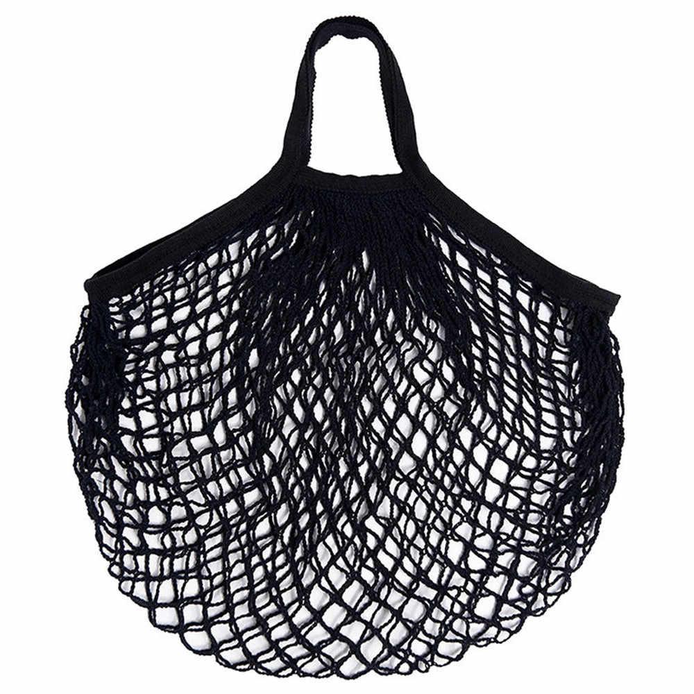 2019 Nova Malha Saco de Compras Mulheres Nova Malha Net Tartaruga Saco de Corda Saco de Compras Reutilizável Bolsa Totes Conveniente de Armazenamento De Frutas saco