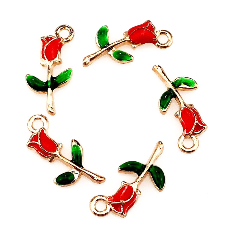 20Pcs/Lot Enamel Romantic Rose Flower Charms Finding Valentine's Day Gift Necklaces Jewelry Supplies