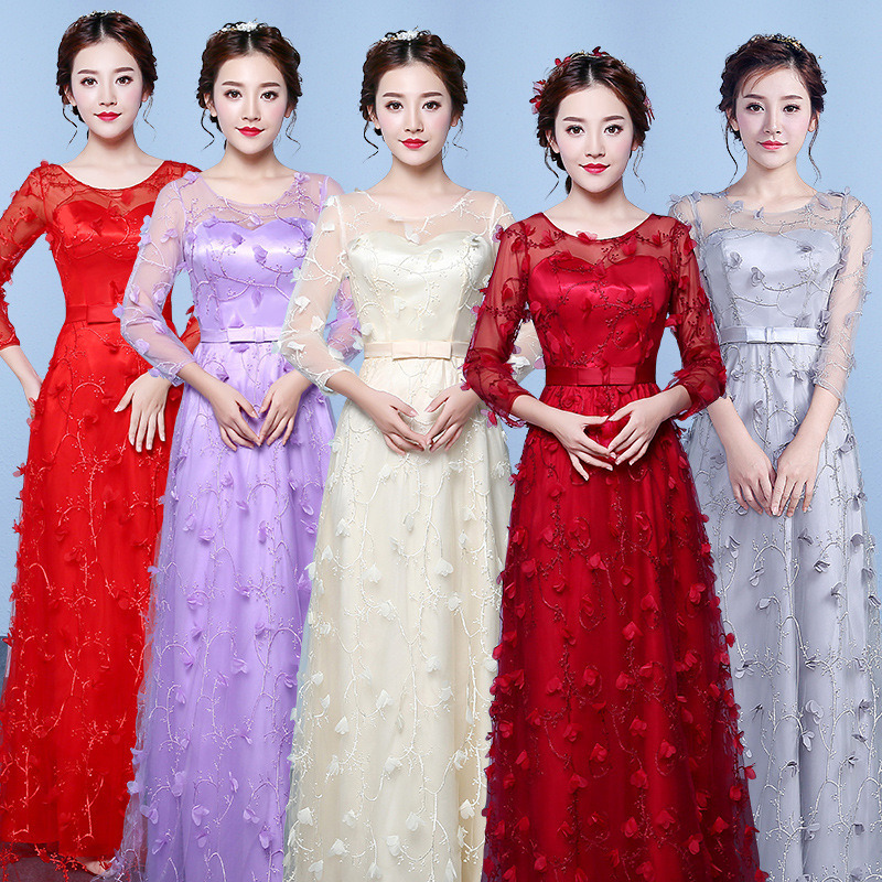 Bridesmaid Dresses Long Dresses For Wedding Party Long Prom Dress Champagne Lace Appliques Wedding Party Dresses For Women