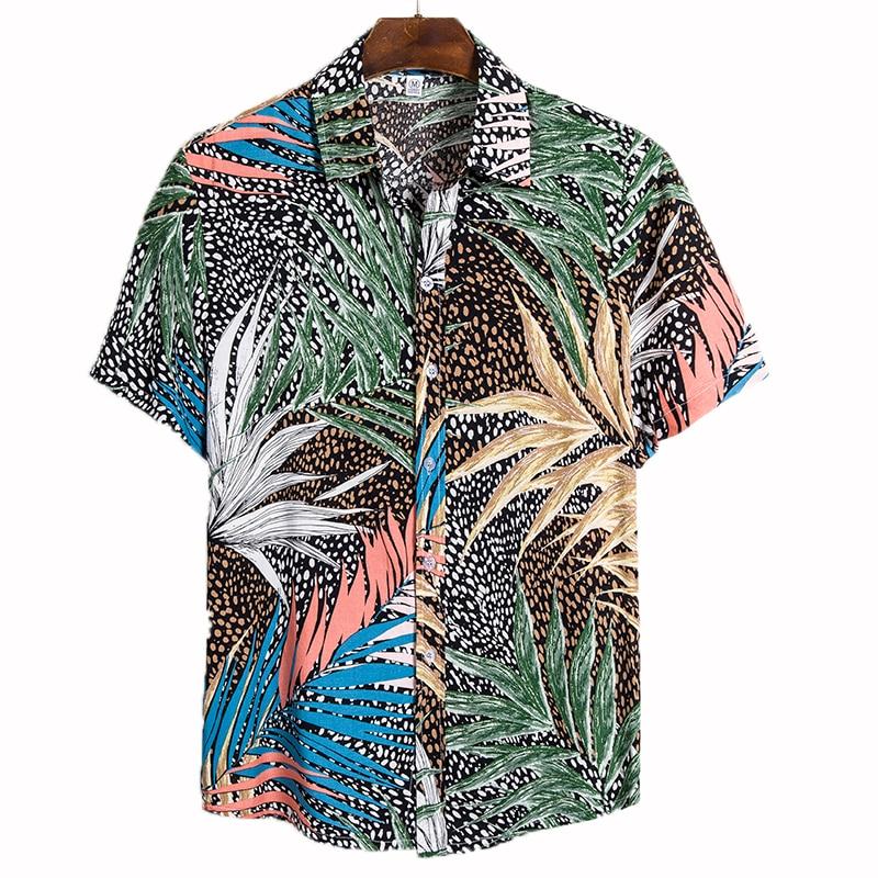 Aoliwen ยี่ห้อผู้ชายเสื้อฮาวายสไตล์ชายหาด Surf เสื้อลำลองฤดูร้อนวันหยุดท่องเที่ยวแขนสั้นเสื้อเย...