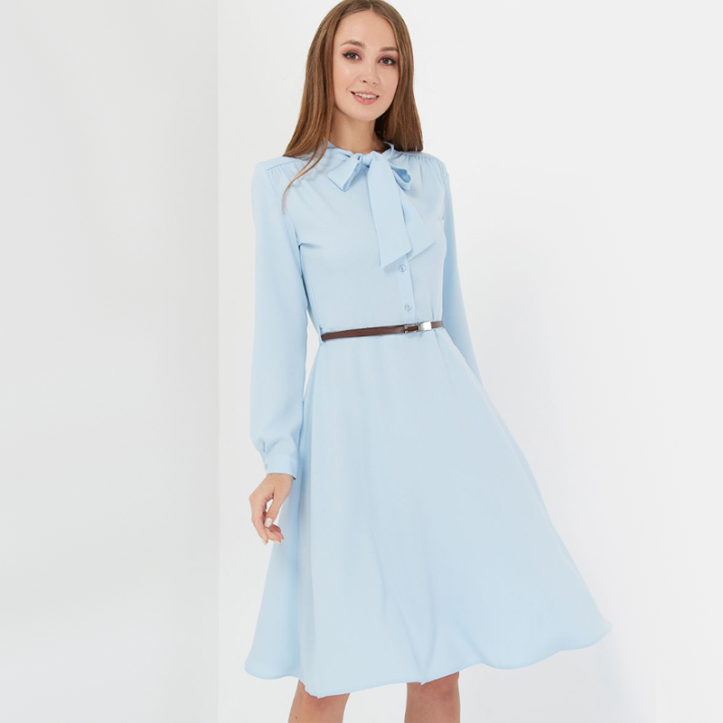 Women Vintage Bow Collar A Line Party Dress Office Ladies Long Sleeve Elegant Dress 2019 Autumn Women Knee Length Solid Dresses