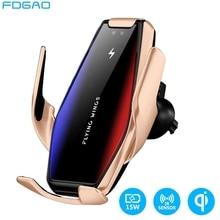 15Wไร้สายอินฟราเรดอัตโนมัติQi Fast Chargingผู้ถือโทรศัพท์MountสำหรับIPhone 12 11 XS XR 8 Samsung S20 S10