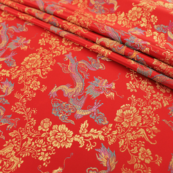 Red Brocade Fabric Sewe Material Supplies With Dragon Pattern Fabric For DIY Needlework