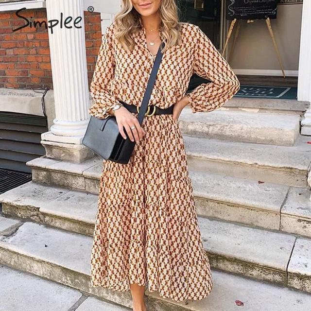 Simplee Bohemian long party dress Floral print geometric women vintage dress Elegant office lady autumn winter dress vestidos