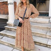 Simplee Bohemian long party dress Floral print geometric women vintage