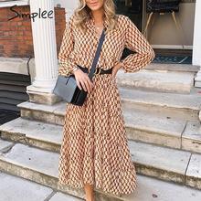 Simplee bohème longue robe de soirée imprimé fleuri géométrique femmes robe vintage élégant bureau dame automne robe dhiver vestidos