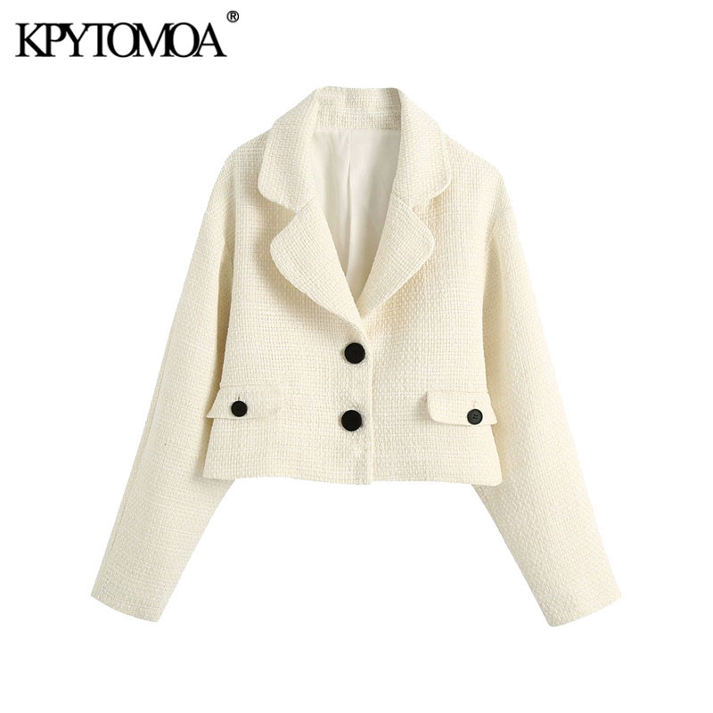 KPYTOMOA Women 2020 Fashion Single Breasted Tweed Cropped Jacket Coat Vintage Long Sleeve Pockets Female Outerwear Chic Tops 1