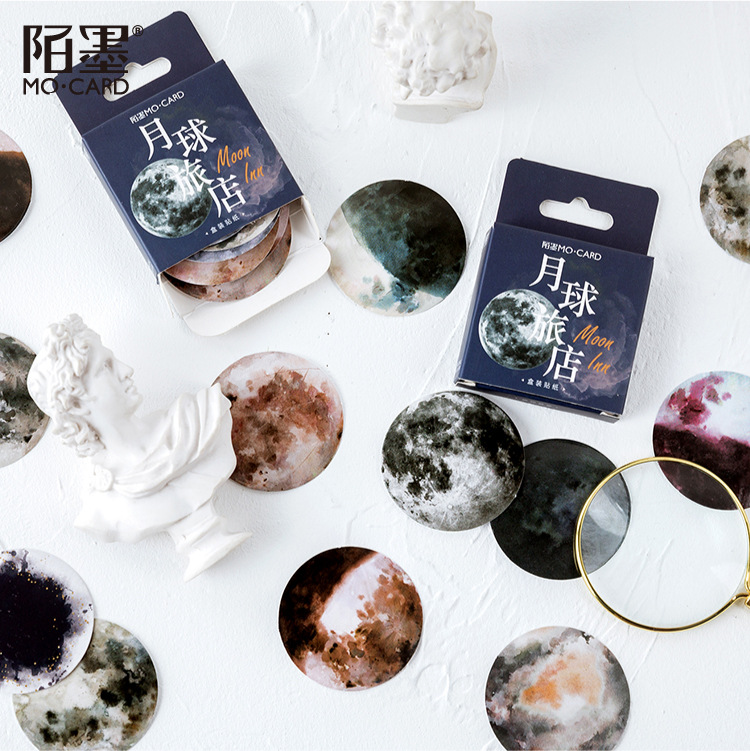 46pcs/pack Stationery Stickers Kawaii Moon Inn Diary Planner Decorative Mobile Stickers Scrapbooking DIY Craft Stickers