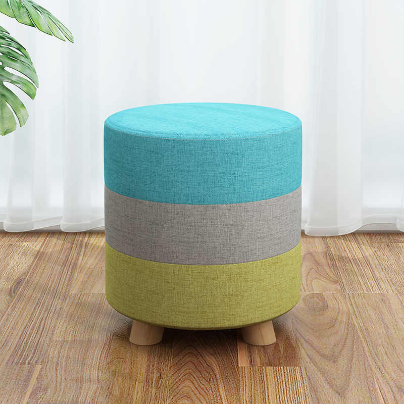 Small Stools Fabric Wooden Modern Home Ottomans Living Room Bedroom Makeup Round/square Stool Change Shoes Bench mx9301150