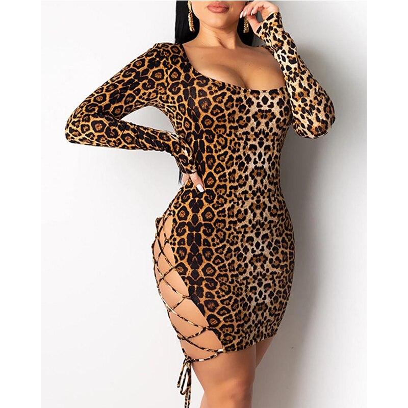 Meihuida Women Sexy Leopard Mini Dress Long Sleeve O-Neck Backless Skinny Stretch Short Dresses Night Club Sex Wear 2