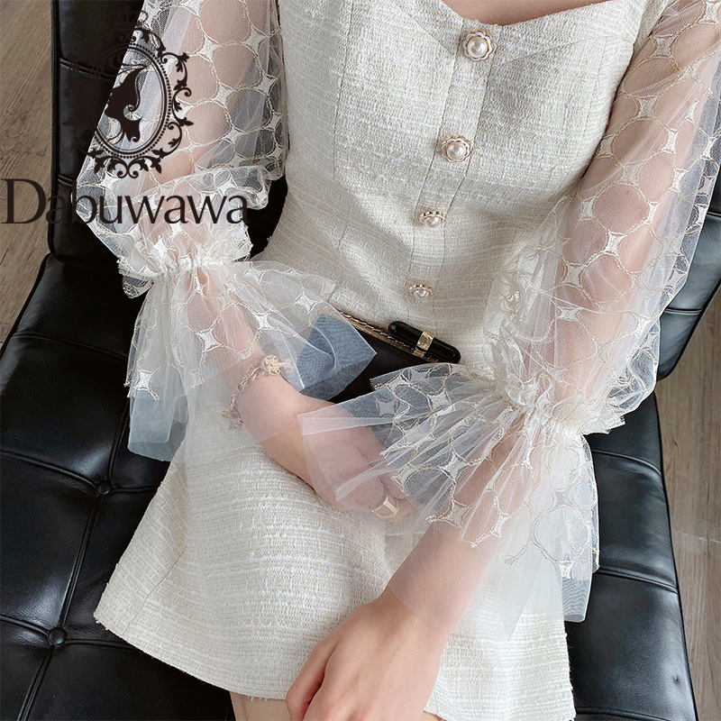 Dabuwawa Vintage Mesh Lantern Sleeve A-Line Dress Women Square Neck Button Front Elegant Solid Party Dress Ladies DT1CDR018