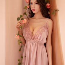 Sleep Night Dress Nighties for Women Underwear Lingerie Sling Lace Embroidery V-neck Sexy Nightdress