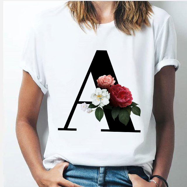 Vogue 26 alphabet letter women T-shirt Harajuku A To Z Alphabet combination flowers Short Sleeve casual Korean Style Tops female 2