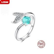цены Mermaid Ring 925 Sterling Silver Blue Ocean Stone Tear Fish Tail Rings for Women Open Ajudstale Ring Jewelry