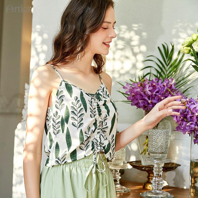 ARTKA 2020 Summer New Women Crop Top Elegant Print Chiffon Tank Top Sexy V-Neck Drawstring Sleeveless Tops Women BA25001X
