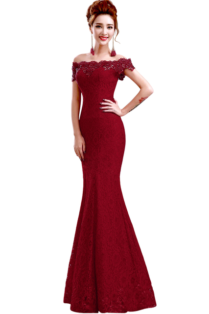 Misshow Mermaid Evening Dress 2020 Pink Lace Long Formal Gown Elegant Off The Shoulder Sleeveless Robe de Soiree 2