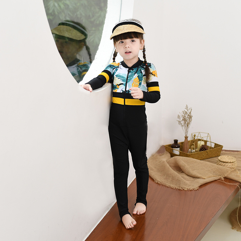 2020 One-piece Swimsuit For Children Girls Big Boy Long Sleeve Trousers Warm Wetsuit GIRL'S Baby Swimming Suit